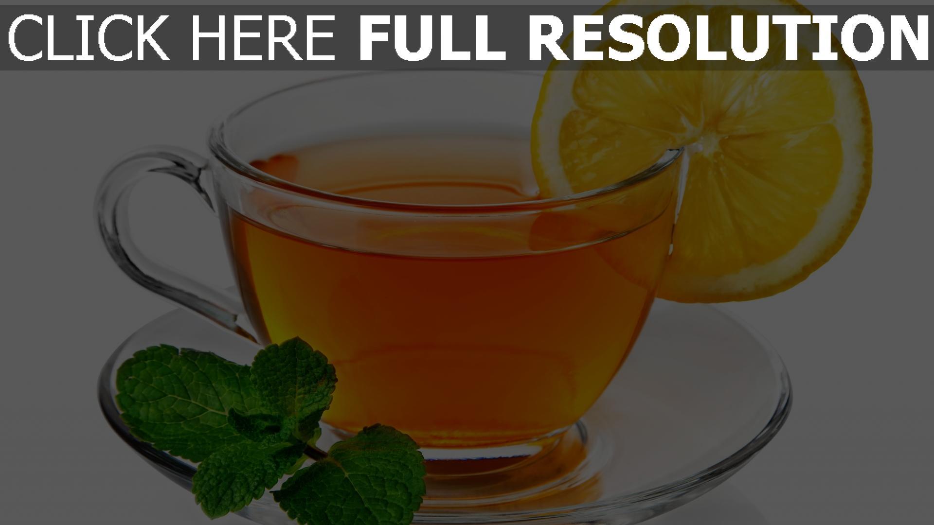 fond d'écran 1920x1080 thé tasse vue de face citron