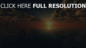 lac calme lever du soleil magnifique