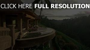 terrasse tropical forêt magnifique hôtel