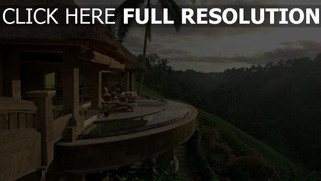 fond d'écran hd terrasse tropical forêt magnifique hôtel