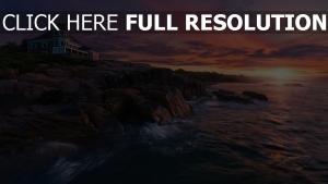 mer rock mansion coucher du soleil Irlande