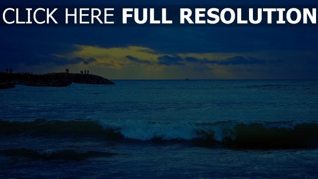 fond d'écran hd vague mer coucher du soleil lettonie
