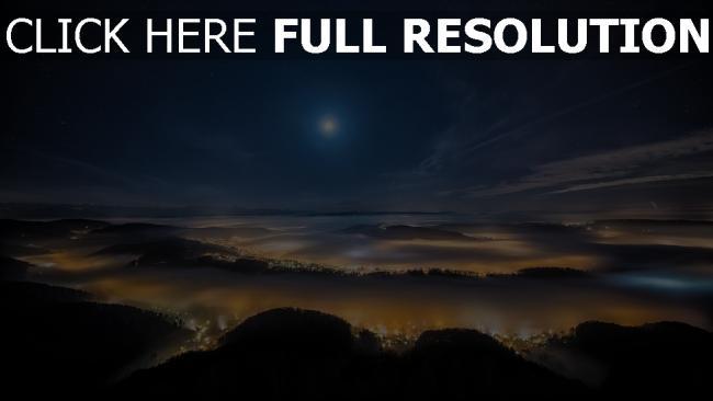 fond d'écran hd autriche montagne nuit vue aérienne lumière