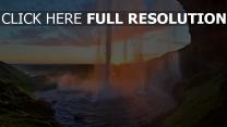 chute d'eau écosse magnifique coucher du soleil