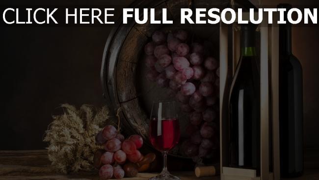 fond d'écran hd vin raisins bouteille nature morte