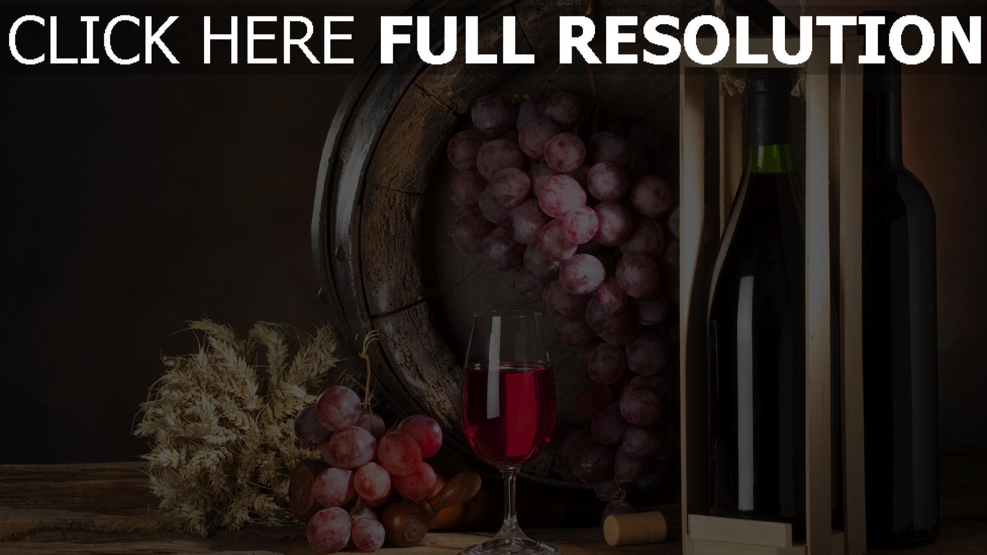 fond d'écran 1920x1080 vin raisins bouteille nature morte