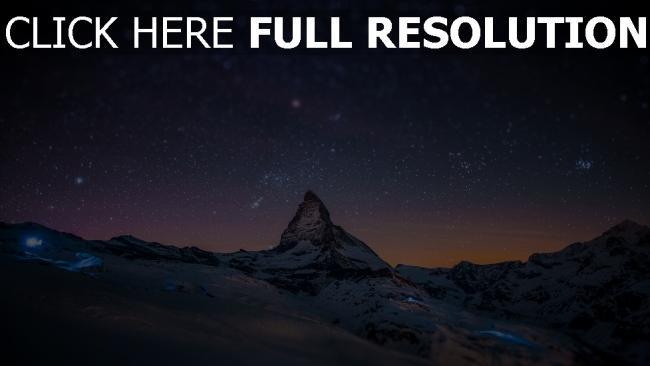 fond d'écran hd montagne enneigé autriche nuit lumière