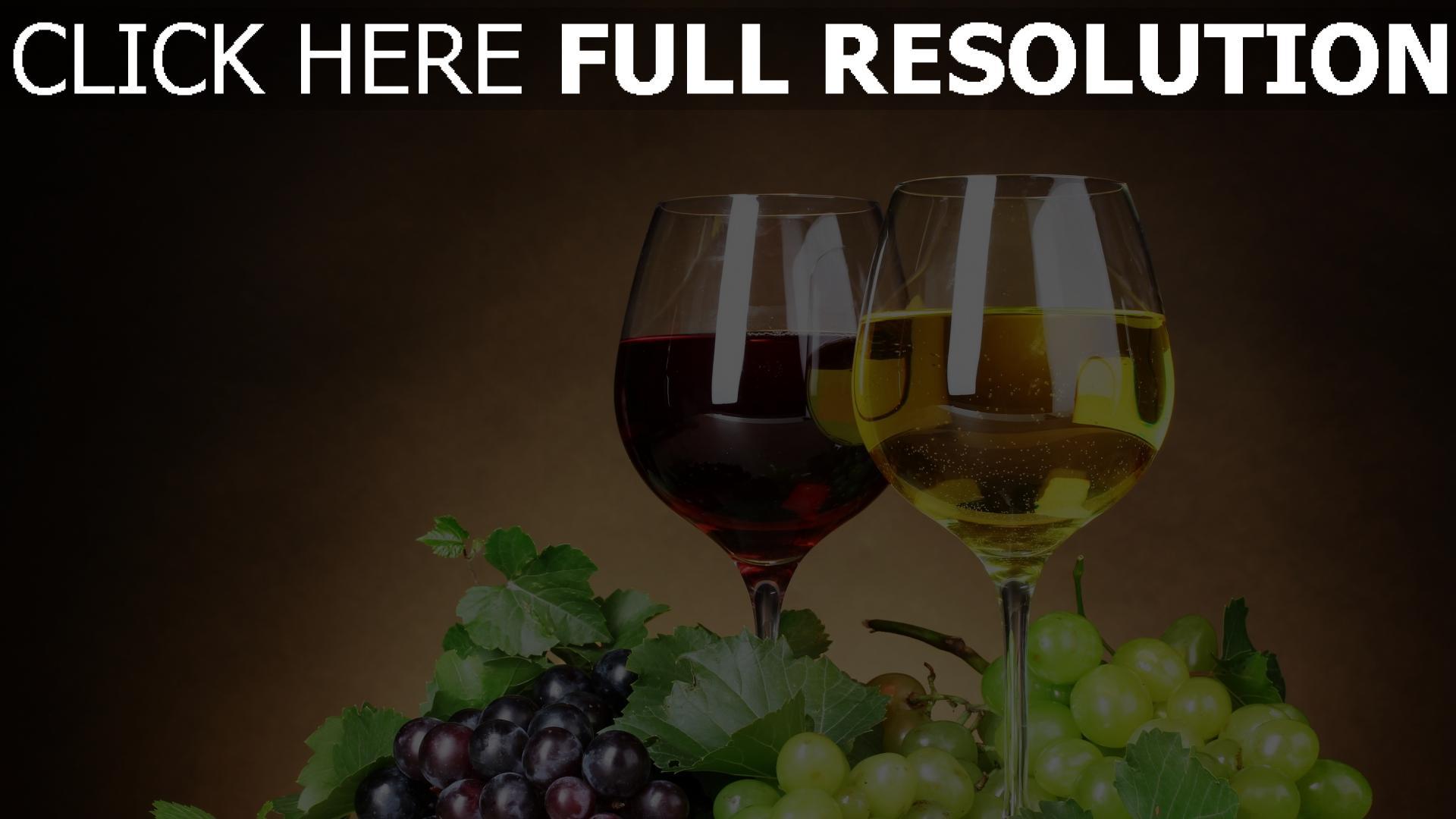 fond d'écran 1920x1080 vin verre raisins vue de face