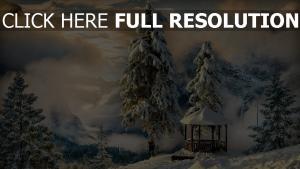 nuage sapin couverts de neige tonnelle suisse