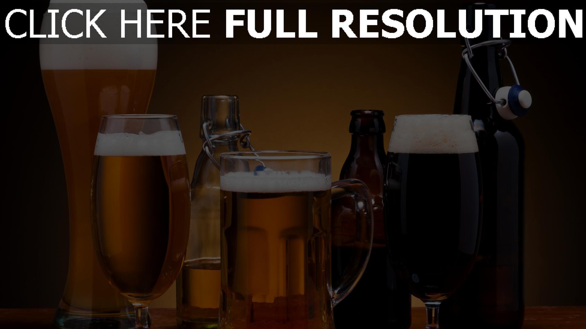 fond d'écran 1920x1080 bière verre bouteille