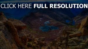 lac montagne rock vue d'en haut