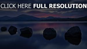 pierre lac réflexion soirée autriche