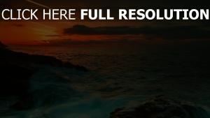 coucher du soleil merveilleux vue mer australie