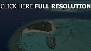 azur océan vue aérienne hôtel île maldives