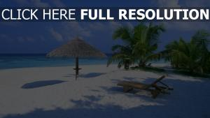 plage bali chaise longue palmier