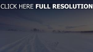 chemin neige champ russie