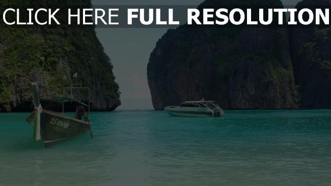 fond d'écran hd thaïlande bateau rock azur océan