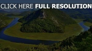 monténégro montagne rivière vue d'en haut