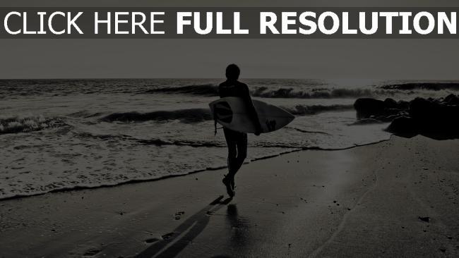 fond d'écran hd surf planche plage noir et blanc