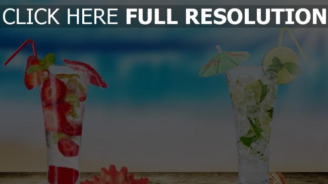 fond d'écran hd cocktail fraise lime arrière-plan flou