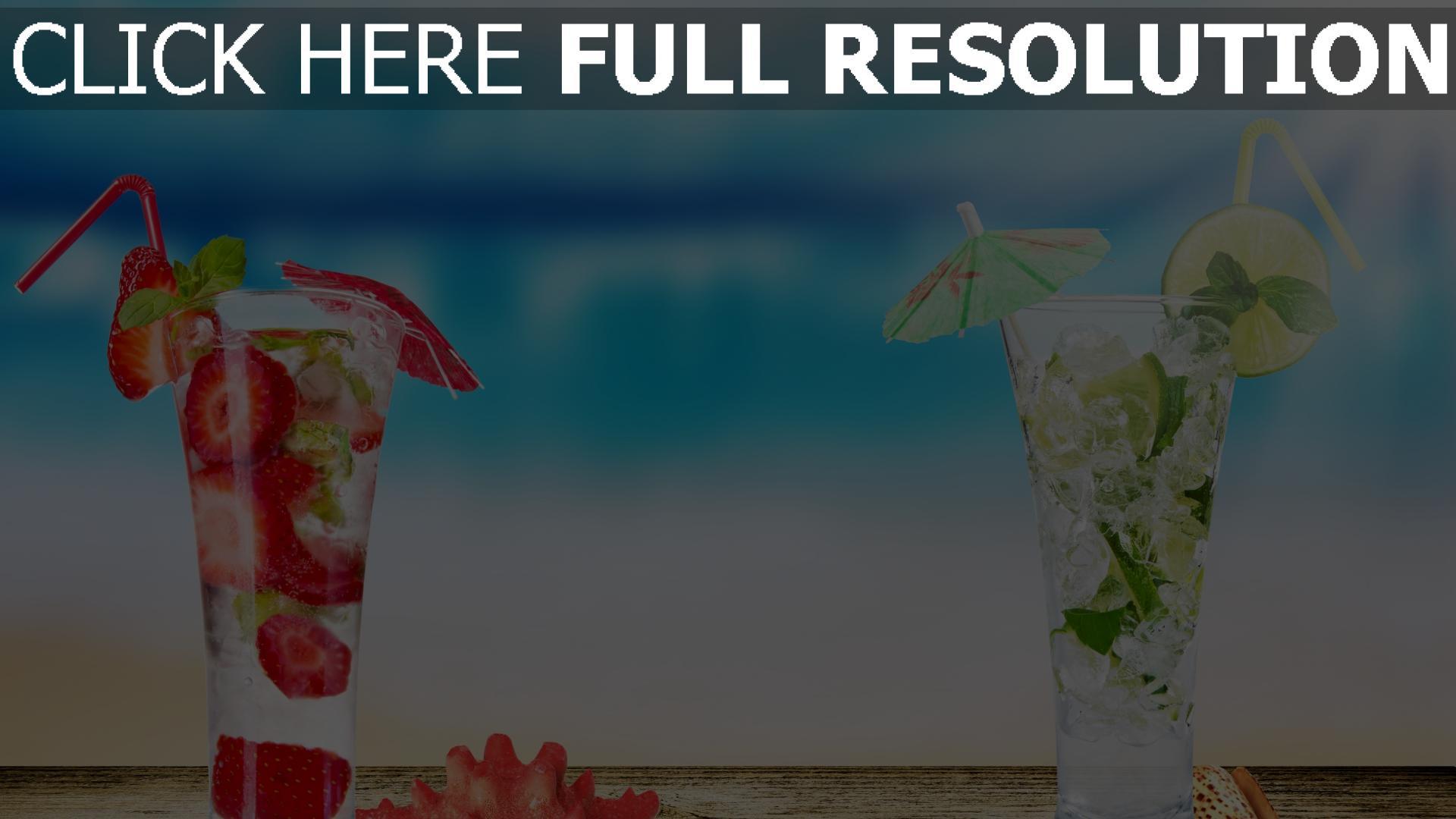 fond d'écran 1920x1080 cocktail fraise lime arrière-plan flou