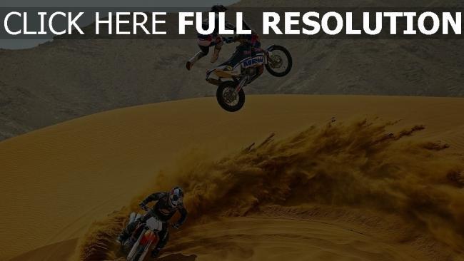 fond d'écran hd moto course desert poussière
