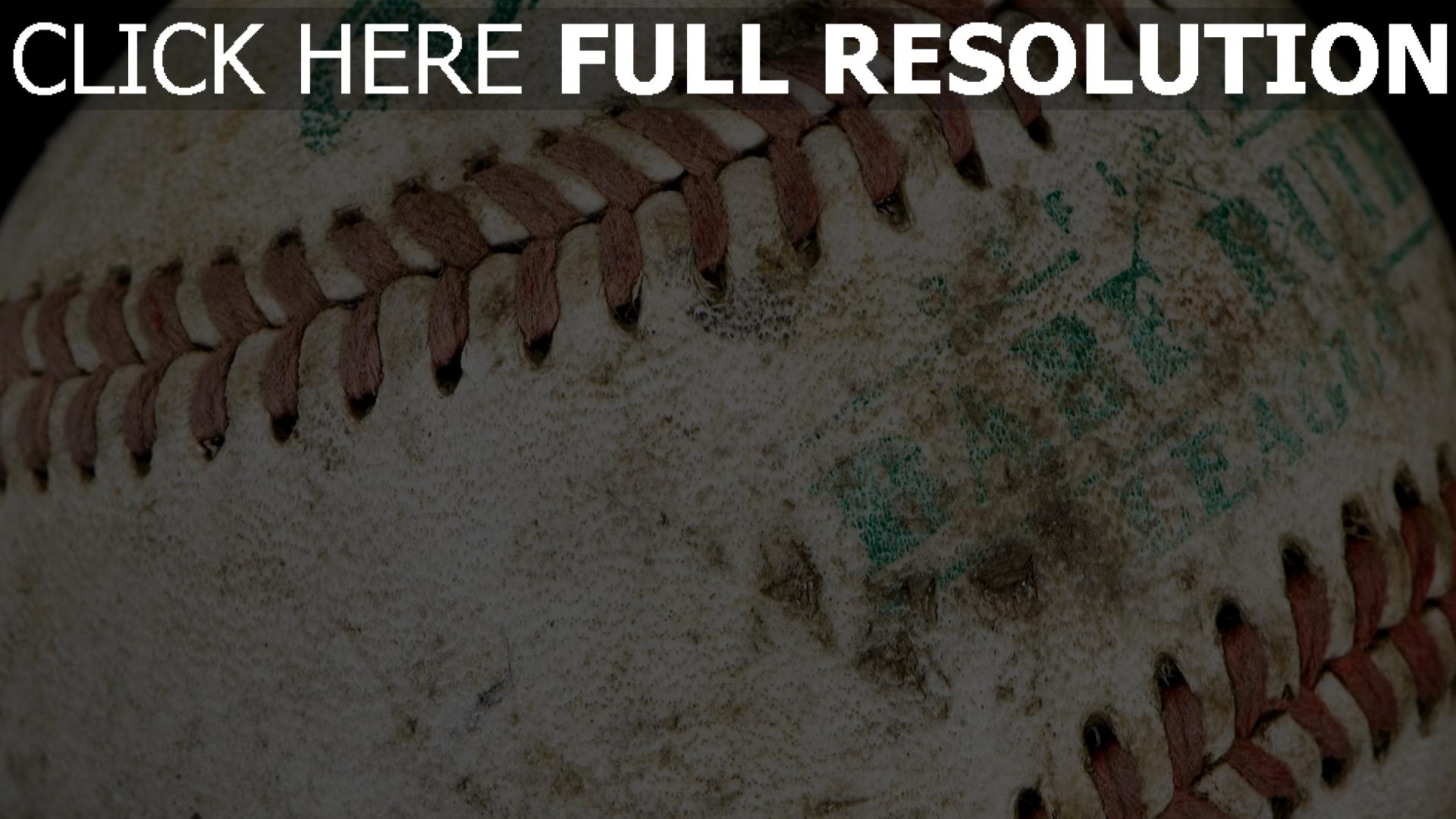 fond d'écran 1920x1080 baseball balle gros plan vieux