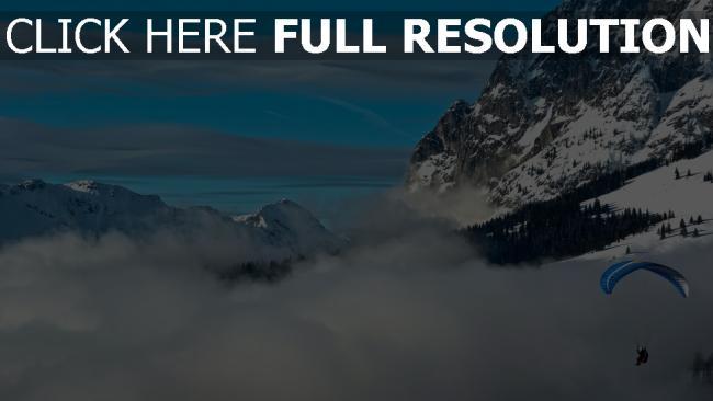 fond d'écran hd saut en parachute nuages alpes suisse