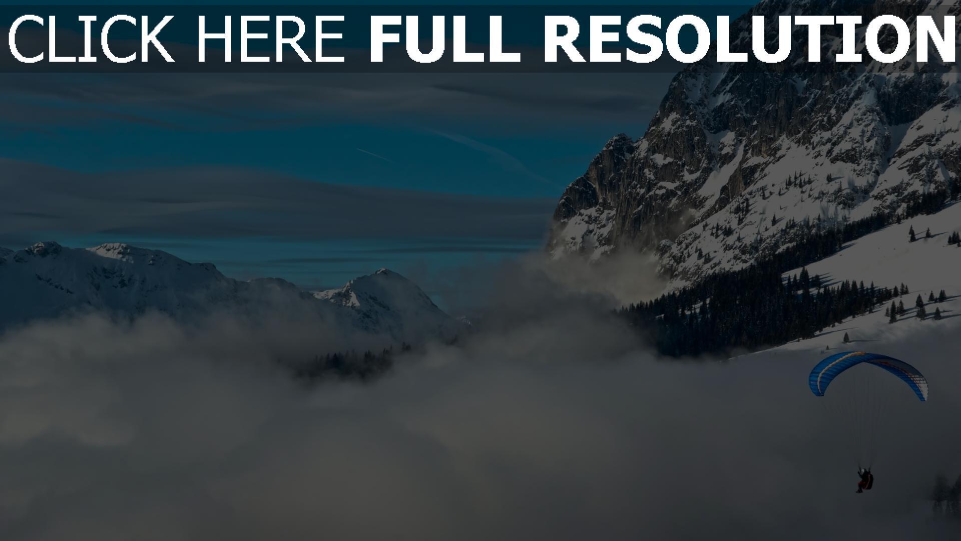 fond d'écran 1920x1080 saut en parachute nuages alpes suisse