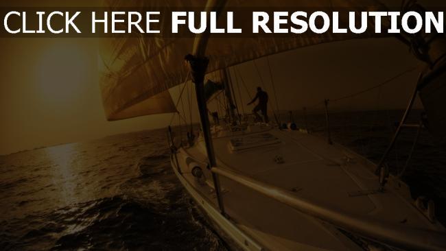 fond d'écran hd bateau voile mer soirée romantique