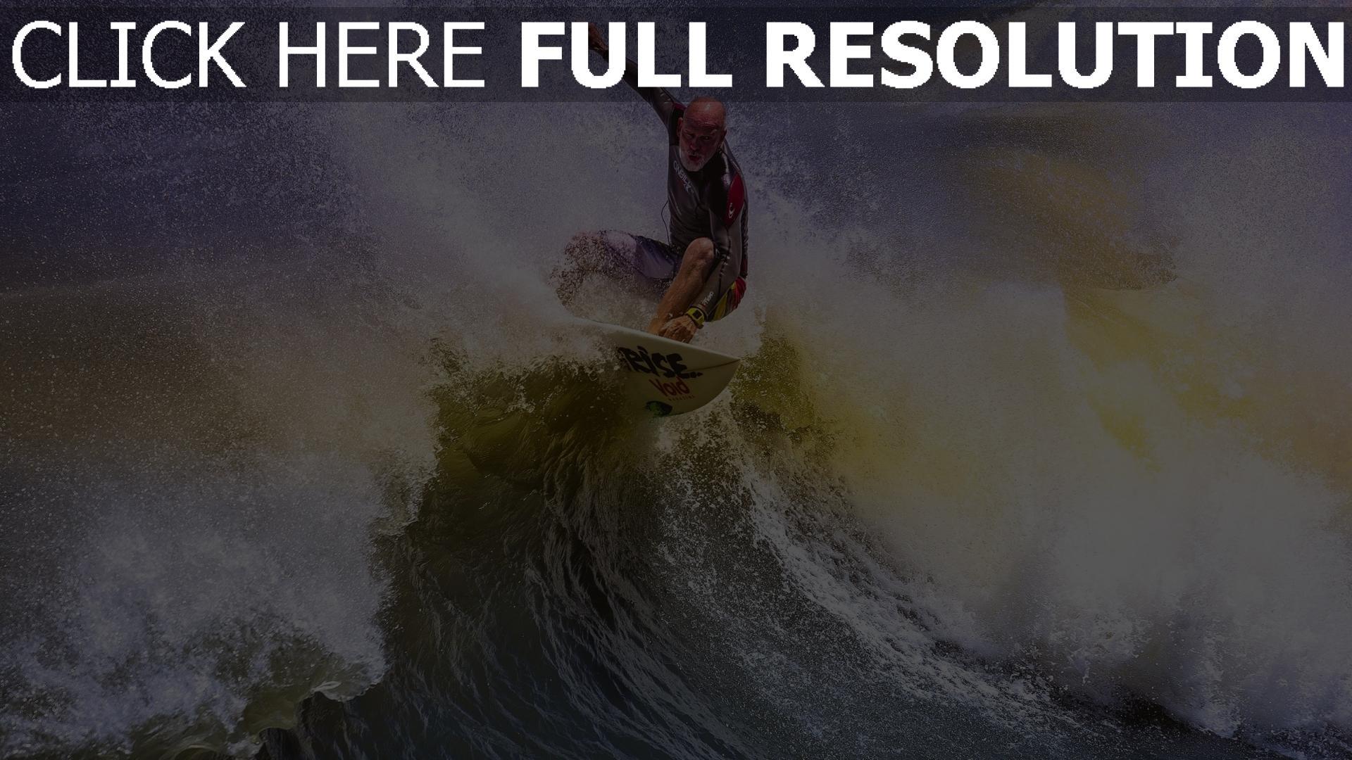 fond d'écran 1920x1080 surf vague éclaboussure chauve athlète