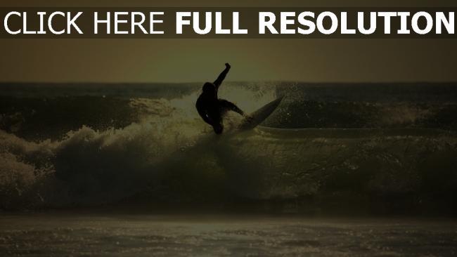 fond d'écran hd vague surf silhouette mousse maldives