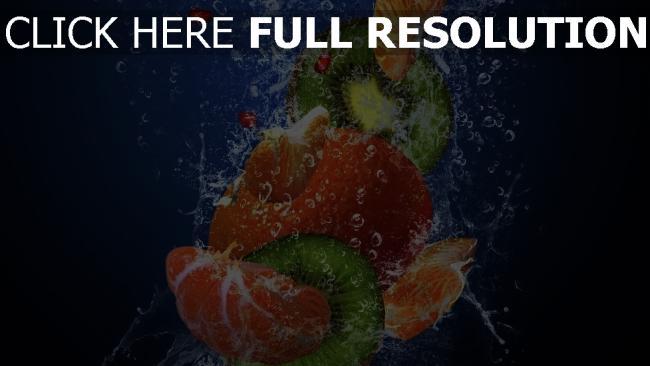 fond d'écran hd kiwi orange éclaboussure