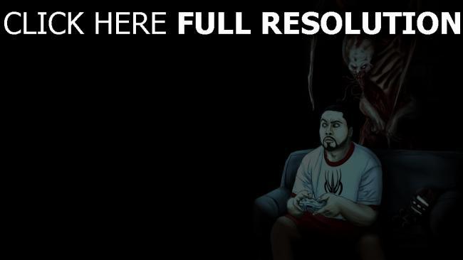 fond d'écran hd dead space joueur un monstre un canapé
