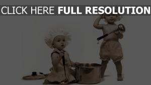 enfant cuisinier noir et blanc