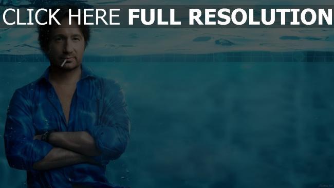 fond d'écran hd david duchovny sous l'eau cigarette chemise acteur