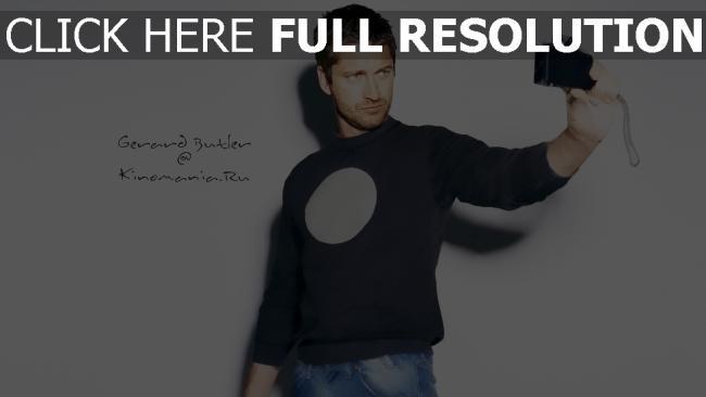 fond d'écran hd gerard butler caméra selfie beau