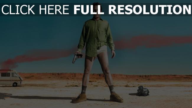 fond d'écran hd breaking bad desert walter white chemise pistolet