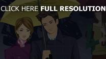 couple parapluie peinture averse