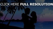 couple nuit lune romantique maldives étreinte