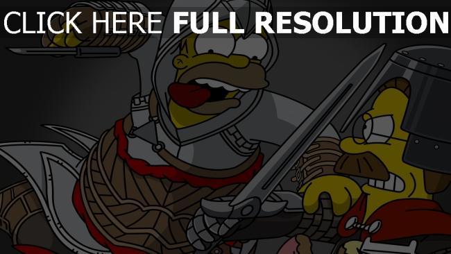 fond d'écran hd homer simpson assassin épée