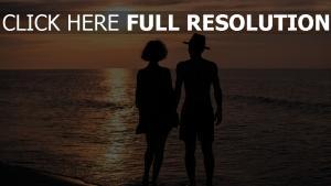 silhouette mer coucher du soleil côte bonheur