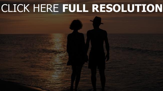 fond d'écran hd silhouette mer coucher du soleil côte bonheur