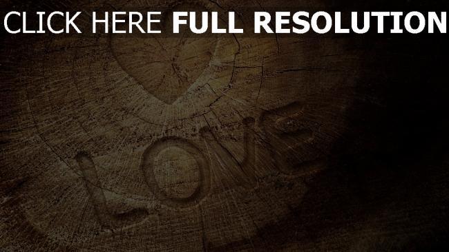 fond d'écran hd bois inscription cœur