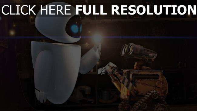 fond d'écran hd wall-e robot lumière couple
