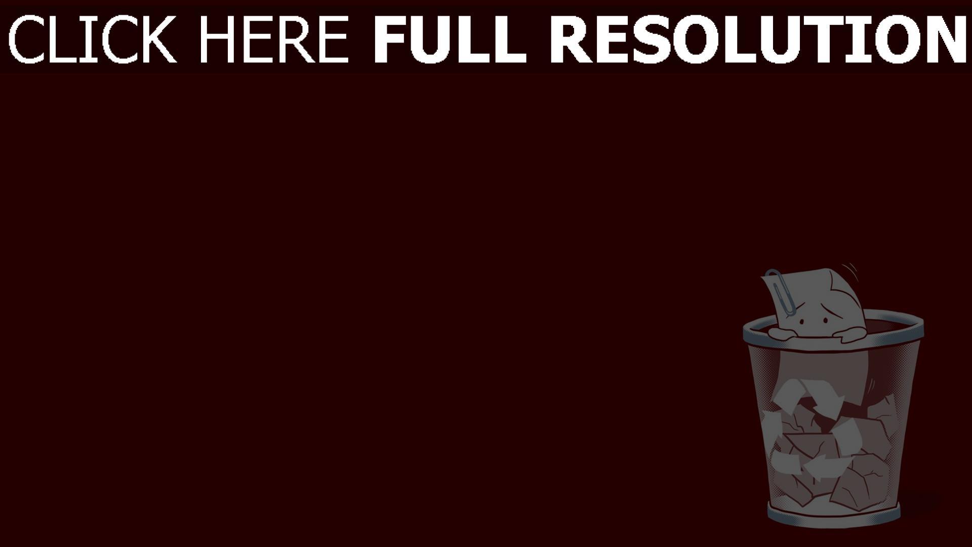 fond d'écran 1920x1080 poubelle papier rouge