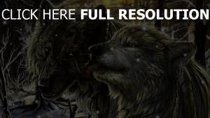 loup couple tempête de neige forêt
