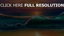 vague coucher du soleil plage peinture
