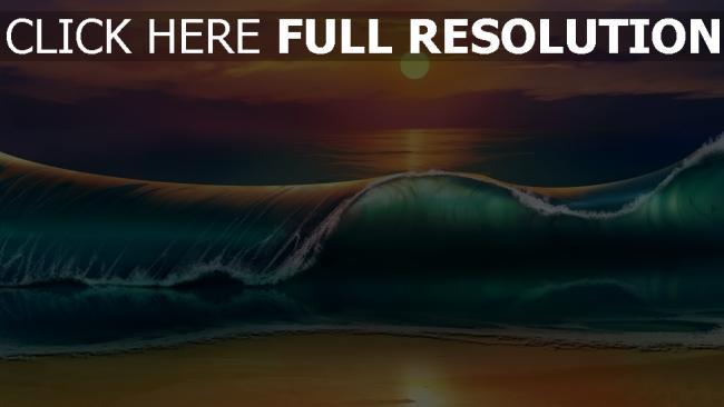 fond d'écran hd vague coucher du soleil plage peinture