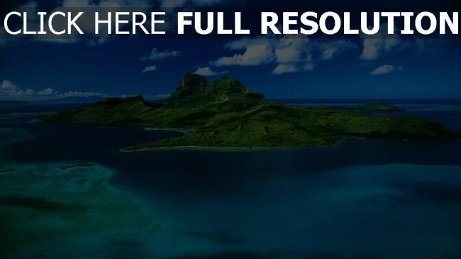 fond d'écran hd île tropical vue aérienne azur océan paradis